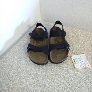 Birkenstocks Black Leather Unisex Sandals